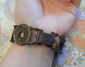 """7"""" Asian/Chinese 6 Metal Coin Bracelet"""