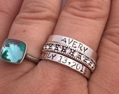 Custom name  ring Sterling silver stacking ring personalized  - hand stamped ring - very sturdy ring - great gift - fun piece of jewelry