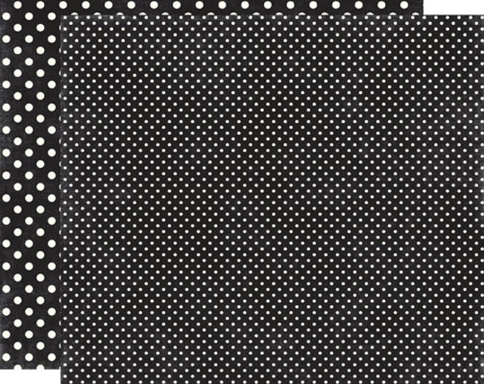 1 Sheet of Echo Park Paper DOTS & STRIPES Valentine 12x12 Scrapbook Paper - Black (2 Sizes of Dots/No Stripes) DS15062