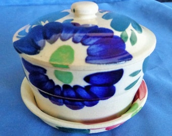 Japanese Donburi Chawan Bowl with Lid and Saucer Cobalt Blue and Cranberry Japan Bowl 3 piece set