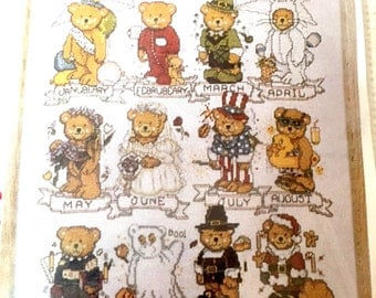 "Design Works ""Calendar Bears"" #1043 Counted Cross Stitch Kit, Embroidery, Needlepoint Pattern, All Year Holiday Winter Christmas Bears"