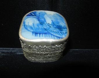 Antique Silver Tin Box - Porcelain Top
