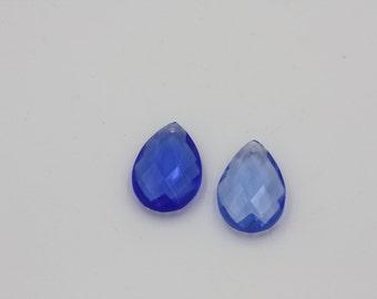 Faceted Cobalt Blue Teardrops
