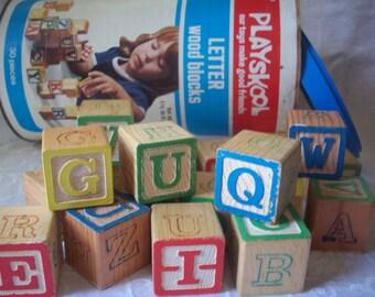 Vintage Playskool Letter Blocks In Canister