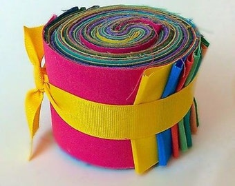 2.5 inch Rainbow Jelly Roll 100% cotton fabric quilting strips Moda Bella Solid