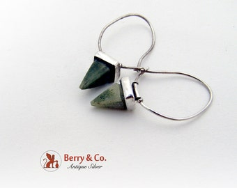 Hand Made Earrings Sterling Silver And Pyramid Cut Green Stones
