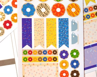 34 Decorative Donut / Doughnut Set of Stickers for your Erin Condren Life Planner