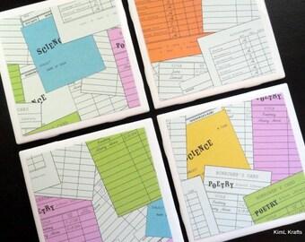 Library Tile Coasters, Tile Coasters, Coaster, Coasters, Tile Coaster, Library Decor, School Coasters, Ceramic Coasters, Coaster Set of 4