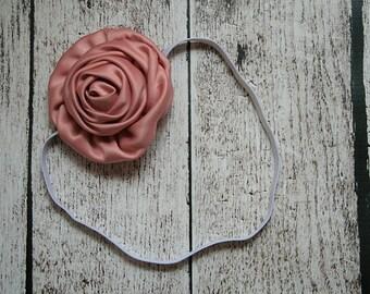 Mauve Rosette Satin 3 inch Flower Skinny Elastic Headband