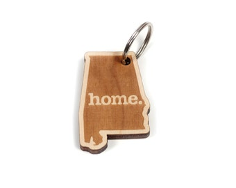 Alabama Key Charm by Home State Apparel: Laser Engraved Wood Keychain, AL
