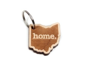 Ohio Key Charm by Home State Apparel: Laser Engraved Wood Keychain, OH