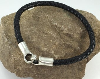 Black Braided Leather Bracelet with a Simple Hook Clasp, Leather Bangle, Silver Clasp and Black Leather, Men's Leather Bracelet