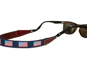 American Flag Needlepoint Sunglass Straps