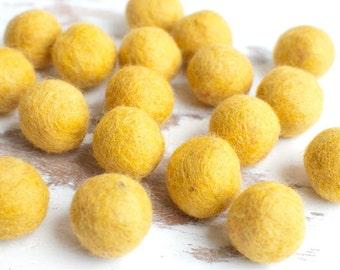 Felt Balls x20. 2.5cm MUSTARD YELLOW Felt Balls. Wool. Felt Balls Supplier. Wholesale. Yellow Felt Ball. Wedding Decor.