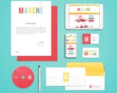 DIY Branding Kit  - Premade Logos, business cards, facebook cover - Maxene