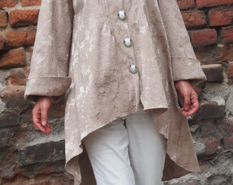 Extravagant Quilted  Coat with Large Neckpiece Asymmetric  Coat Loose Coat & Nara KPO12