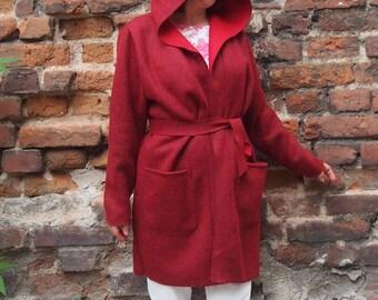 Hoodded Coat Wool Coat Short Autumn Coat