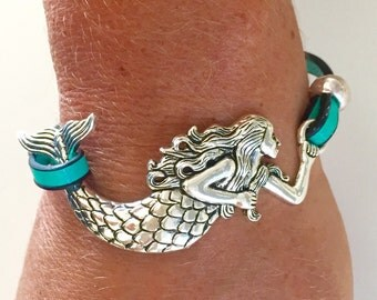Silver Mermaid - Turquoise Leather Bracelet