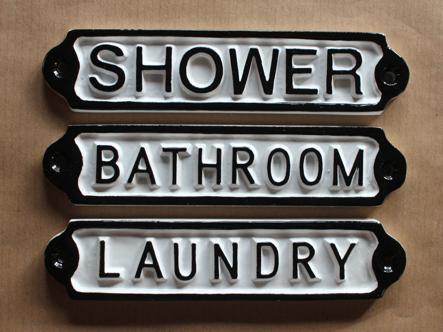 Antique Bathroom Shower Laundry Door Signs Shabby Chic