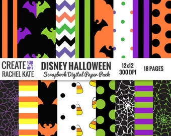 Disney Halloween Inspired Digital Scrapbook Paper Pack Papers Pages Sheets Patterns