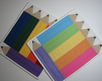 Quilted Snack Mats , Set of 2 , Pencils , Brights and Pastels