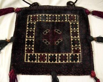 "Black and Burgundy Nomadic Bag w. Decorative Designs & Tassels 16x18"" ANTIQUE"
