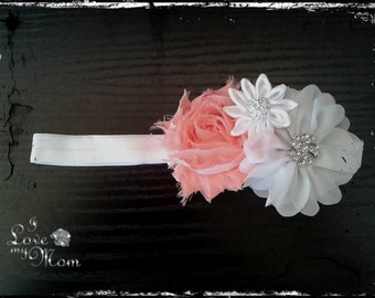 Baby Girl Headband  in Coral Pink and White for Babies and Little Girls.Chiffon Headband For Photography Props .Infant Hair Accessory