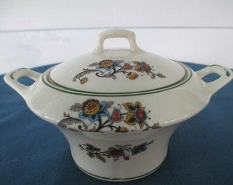 Vintage Crooksville China Covered Sugar Bowl Marked Ivora #728 Collectible Replacement China Dinnerware