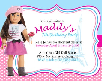 american girl banner  etsy, Birthday invitations