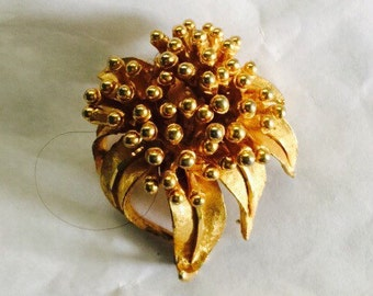 Vintage B.S.K.gold tone brooch pin