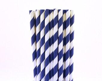 Dark Blue Striped Paper Straws-Dark Blue Straws-Wedding Straws-Police Birthday Party-Striped Paper Straws-Little Man Baby Shower Straws
