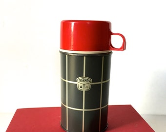 Mid-Century Small Red and Gray Plaid Thermos, King Seeley