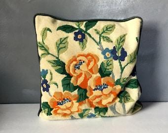 Vintage Handmade Needlepoint Floral Pillow