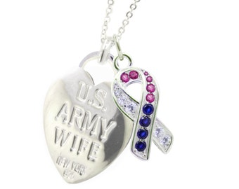 Rhodium Plated Army Wife Armed Forces Necklace CR (Free Shipping)