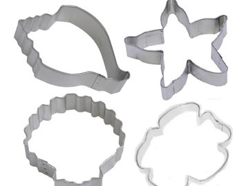 4 Piece Sand Dollar Conch Seashell Starfish Cookie Cutter Set