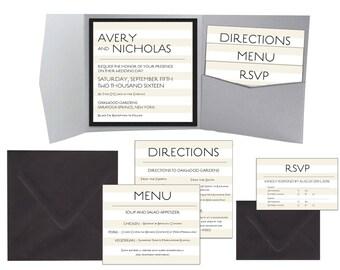 Modern Elegance Colorblock Square Wedding Pocket Invitation Suite • 85+ colors • Pocketfold • SAMPLE