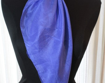 "Vtg Vintage Womens Royal Blue Scarf Wrap Silkroad Silk Hand Rolled Hem Large 35"" x 33"""