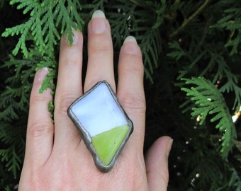 white & pear ring, fused glass ring, adjustable ring, handmade