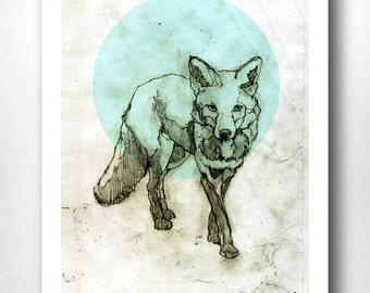 Fox Print A4 ARCTIC FOX | Fox Drawing - Fox Illustration - Geometric - Fox Art - Animal Print | Fox Wall Art - Fox Art Print - Gift Fox