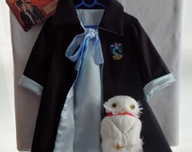Ready To Ship NOW: Ravenclaw-Harry Potter 'House' Robe, size 2-3, All Cotton Outer, Dance Satin Lining, Infant Graduation Robes