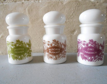 Set of 3 spices jars, milk glass canisters, retro kitchen decor. Pepper, cinnamon, nutmeg.