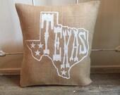 Burlap Pillow | Texas pillow | Mothers Day gift | Graduation Gift