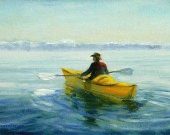 KAYAK CALM, an original oil painting by DJ Lanzendorfer