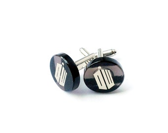 Dr. Who sign cuff links made of natural obsidian   superhero cuff links   wedding gift   gift for men   FREE SHIPPING