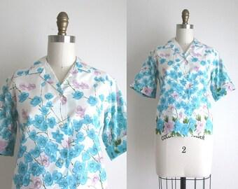 1960s Blouse / Vintage 1960s Blouse / Floral Print Cotton Blouse
