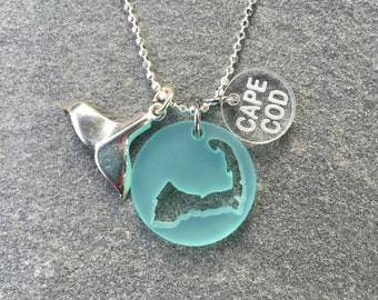 Cape Cod Sea Glass Style Charm Necklace
