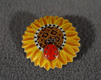 Vintage Art Deco Style Sterling Silver Enameled Sun Flower with Lady Bug Design Pin Brooch Jewelry    #23K
