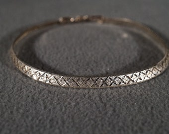 Vintage Traditional Style Sterling Silver Woven Design Bracelet Jewelry      #27K