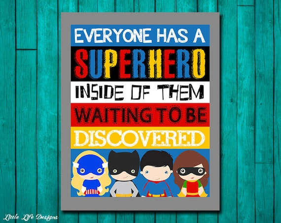Superhero wall art superhero room decor superhero classroom - Classroom wall decor ...