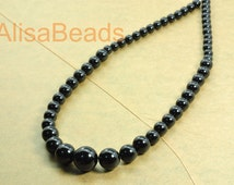 Black Onyx, smooth round tower necklace,DIY handmade wholesale beads,6-14mm,15.6 inches